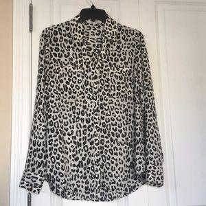 Express Leopard Portofino blouse